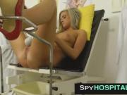 Leggy blonde pelvic exam by old gyno leaked spy cam