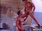 Beefy Military Gay got Fucked in an Abandoned Building