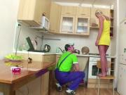 German 18yr Daughter get fucked by Repairman when Mom Away