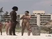 Black Man chats up married woman on nude Beach