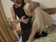 Blonde teen slut wants him to finish in her ass