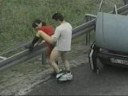 Blowjob and fucking on the highway roadside