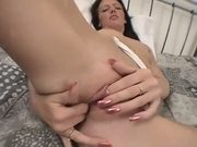 Brunette takes it from behind