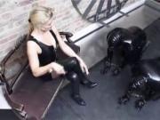 Blond German latex Mistress