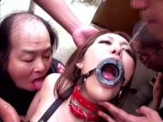 Japan cute girl spitting in mouth