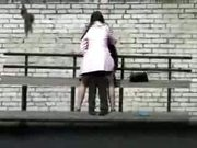 (Softcore) Russian Sex Bomb playing in public while watched by voyeur