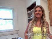 Slender Sexy MILF Alana Luv interviews for AuntJudys.com