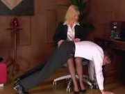 Blonde Secretary Domme Spanks and Straps 