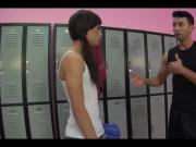 Shemale cheerleader gets fucked in the locker room