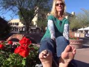Blonde MILF shows Her feet