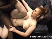 Busty amateur Fiona sucking black cock