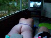 Fat bbw girl on her balcony watching World Cup soccer 2010