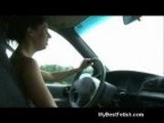 Tiffany Preston stroking a cock wile driving at Mybestfetish.com