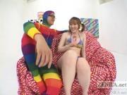 Pale Japanese AV star weird vibrator threesome Subtitled
