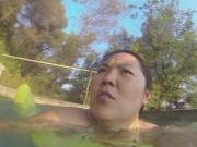Asian wife big boobs in swim suit