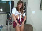 Short skirt on hottie. JOI