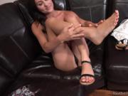 Young Brunette Has Feet Sucked and Pussy Thrusted Until She