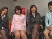 Girls group footjob