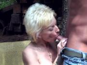 horny granny lets him test her new tits