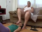 BBW feet licked by slave