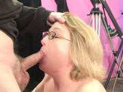 Deep throat mature gets a load in her mouth