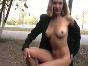 Blonde nude in public
