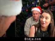 8 pervert old men gangbang sexy Santa girl