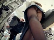 Upskirt Black Tights - Laddered Ass + Leg