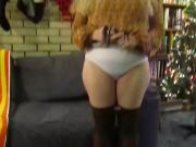 Penelope showing off her ass and pussy at christmas