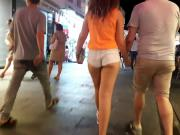 Turkish young girl with nice shirt and legs with boyfriend: