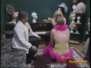 Two chubby harlots dress up a stud and get their boots licke
