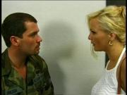 The beautiful Stacy Valentine and a pilot have sex in a bar