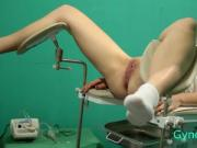 naked girl on reception at the gynecologist gyno
