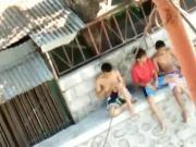 young asians jerking outside