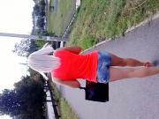 Teen girl walking on the street