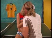 Blonde teen and boy fuck on tennis table