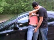 German Couple and women sex in parkplatz parking