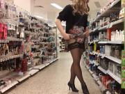 shopping trip in floral skirt and stockings