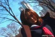 Cute Japanese Coed exhibs and fucked outdoor