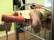 male nylon feet tickling with hair dryer
