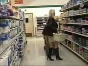 wife flashing in supermarket