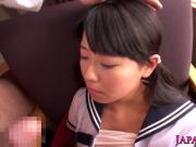 Jap petite babe pounded after dicksucking