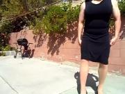 transgender nude pantyhose black dress