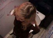 Teen in the bathroom finds gloryhole