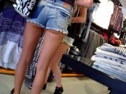 Two German Girls Shopping Hotpants Upskirt Great Ass Legs