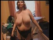 Big tits BBW Mom in black stockings Anal