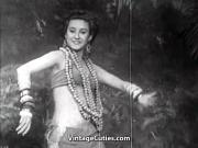 Exotic Babe Dances and Smiles 1940s Vintage