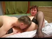 Milf in Lace Top Stockings Fucks Lad