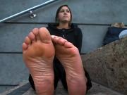 dirty sweaty feet out of black flats