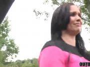 Naughty MILF Joanna Black fucks outside in the woods